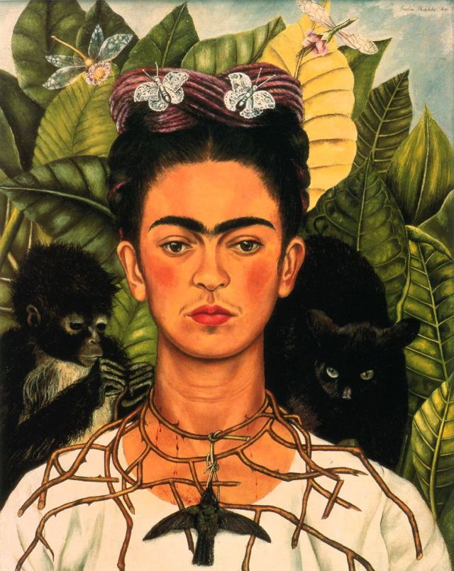 Frida Kahlo: 1940, Self Portrait with Necklace of Thorns