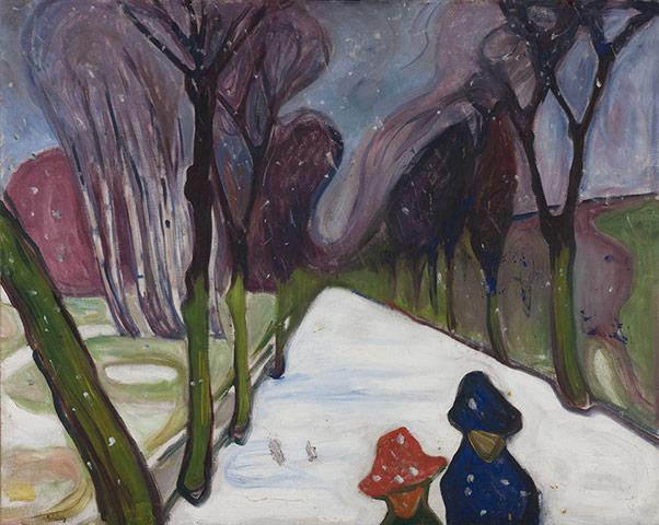 Edvard Munch Nysnø i alleen,
